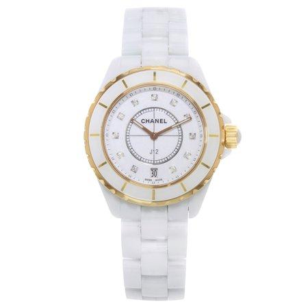 Chanel J12 H2180 18K Rose Gold White Ceramic Diamond Quartz Unisex Watch Chanel J12 White Ceramic Watch