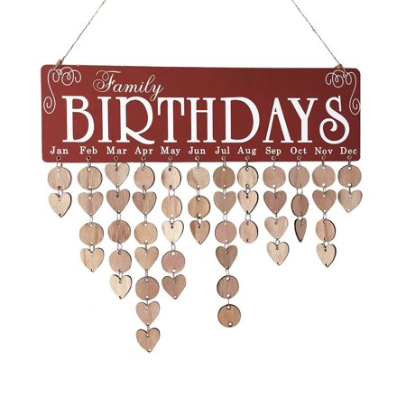Mosunx Wood Birthday Reminder Board Birch Ply Plaque Sign Family &Friends DIY Calendar - Signs By Birthday