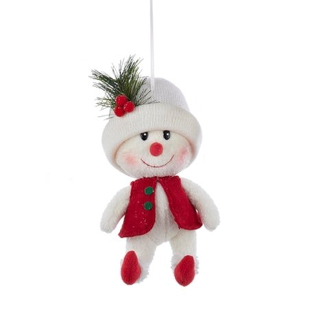 """11.5"""" Red and White Snowman with White Hat Decorative Christmas Ornament"""