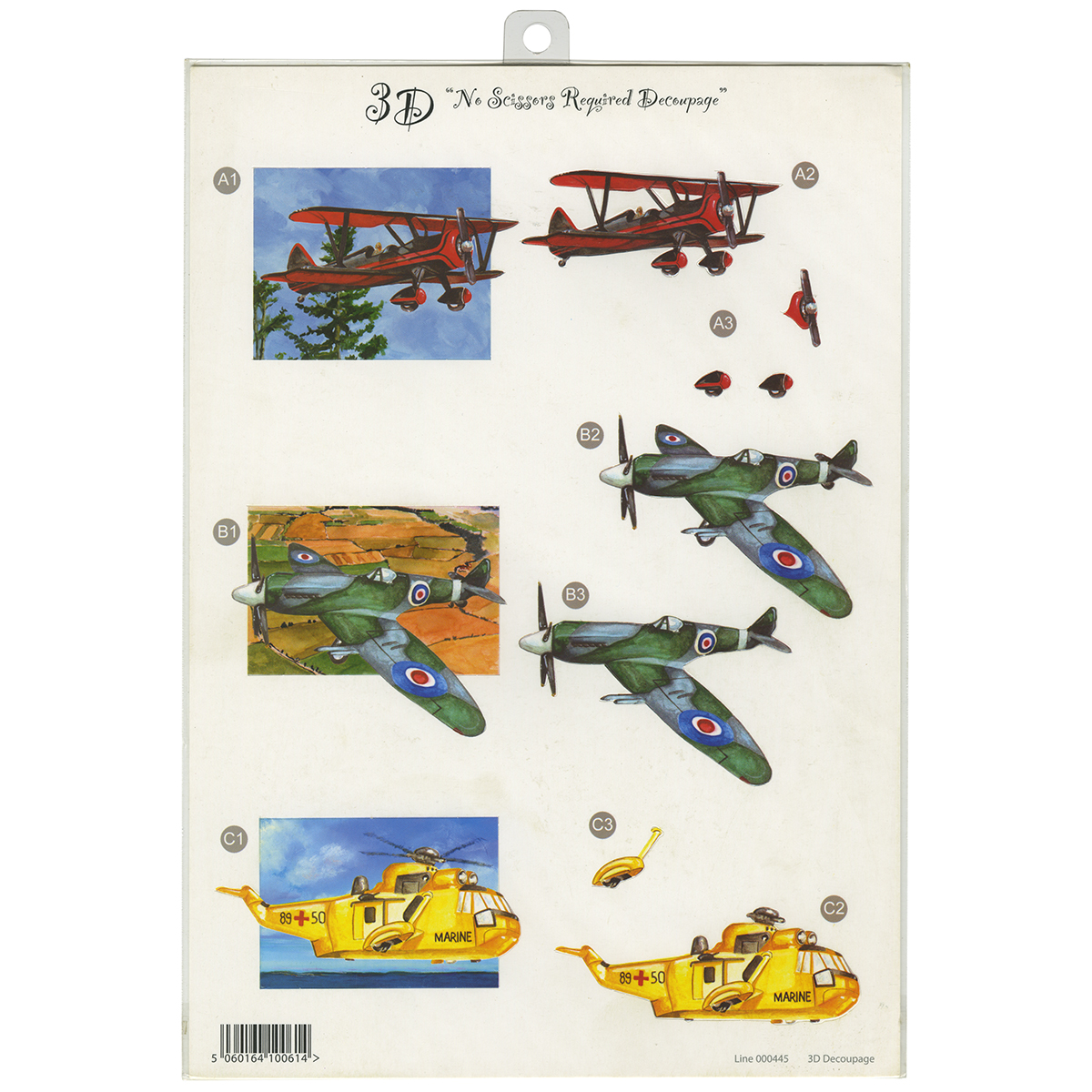 "3D Die-Cut Decoupage Sheet 8.3""X11.69""-Planes"