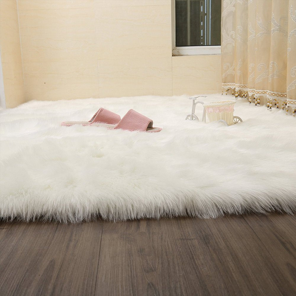 FabricMCC Faux Sheepskin Area Rug Silky Shag Rug White Fluffy Carpet Rugs Floor Area Rugs Decorative for Living Room Girls Bedrooms---White