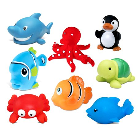 Ocean Buddies (Toddler Bathtime Learning Toy Dollibu Bath Buddies Ocean Critters Rubber Squirter Toys - Octopus, Sea Turtle, Fishes, Shark, Penguin, Dolphin, Crab (8pc Set))