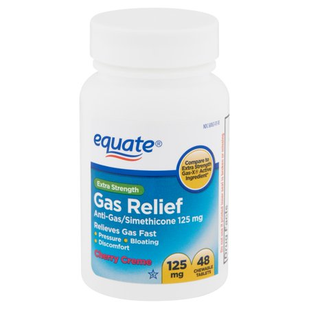 Equate Extra Strength Gas Relief Chewable Tablets, Cherry Creme, 48 Count ()