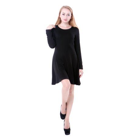 Hde Womens Casual Cotton Jersey Knit Black Long Sleeve Slip On Mini Skater Dress  Black  Xxl