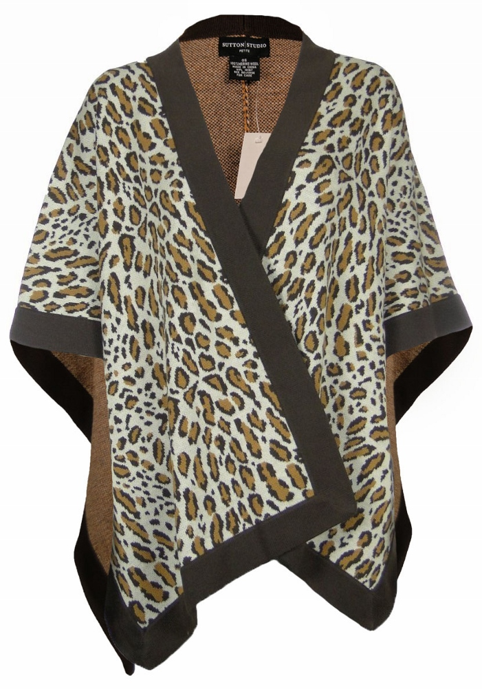 Sutton Studio Womens Merino Wool Leopard Poncho Wrap Misses by