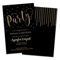Personalized Gold Colored Dots Engagement Party Invitation