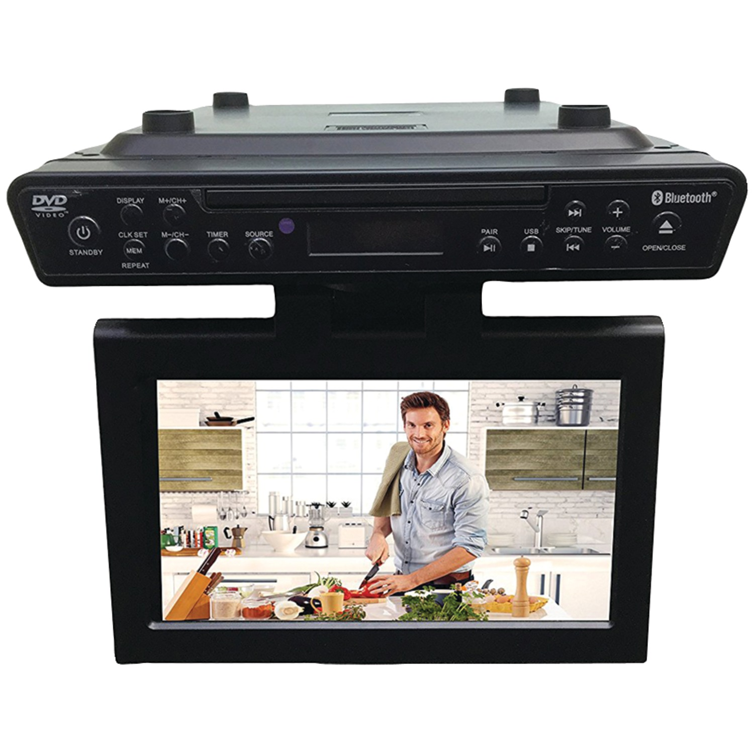 "Sylvania SKCR2706BT 10.2"" Under-counter BT Kitchen TV With Built-in DVD Player & HDMI"