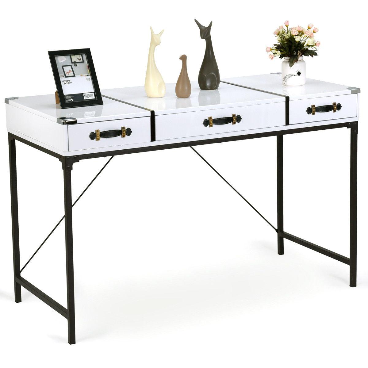 Gymax Modern 3 Drawer Console Table Desk Organizer Hallway Living
