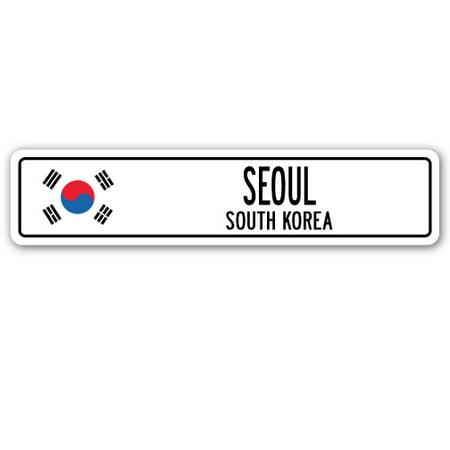 SEOUL, SOUTH KOREA Street Sign South Korean flag city country road wall gift](Halloween South Korea)