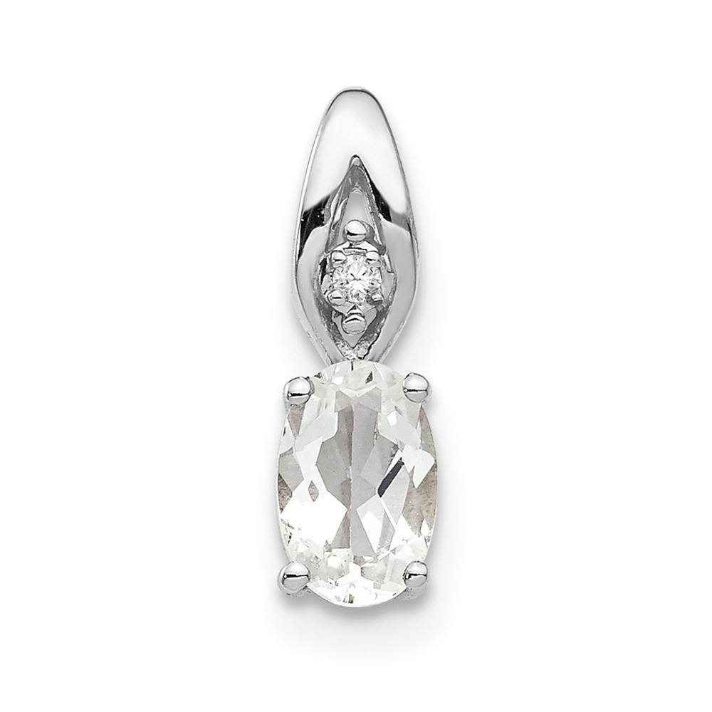 14k White Gold 6x4 Oval Genuine White Topaz Diamond Pendant. Gem Wt- 0.57ct