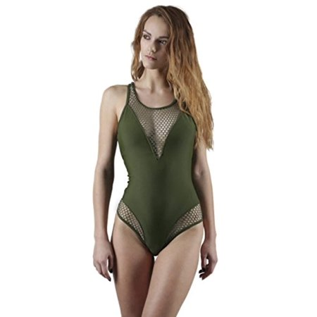 55c5ecdc177 Yacht & Smith Missy Womens Swimsuit, Fashion One Piece Bathing Suit Tank  (Olive Halter, Large)