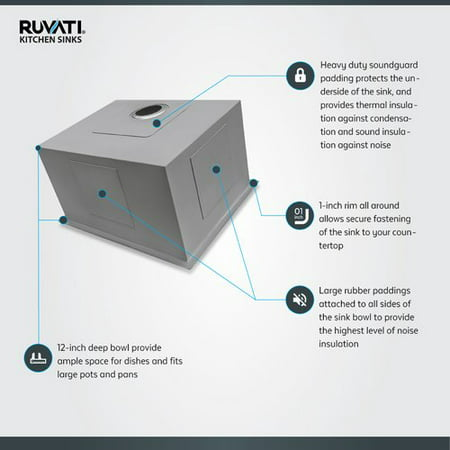 Ruvati Nesta 23'' x 18'' Undermount Laundry (12 Undermount Sink)