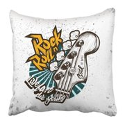 BPBOP Black Music Hand Drawn Rock Festival and Roll Sign White Guitar Punk Band Vintage Concert Hardcore Pillowcase 20x20 inch