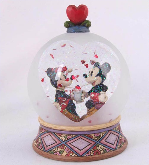 Jim Shore Disney Mickey and Minnie Soda Shop Water Ball