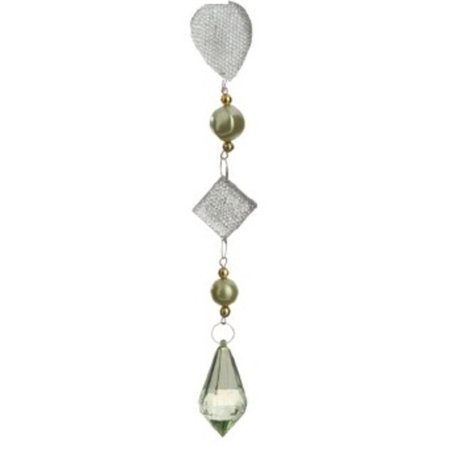 9 Winter Solace Dazzling Green/Gold Beaded Teardrop Pendant Christmas Ornament