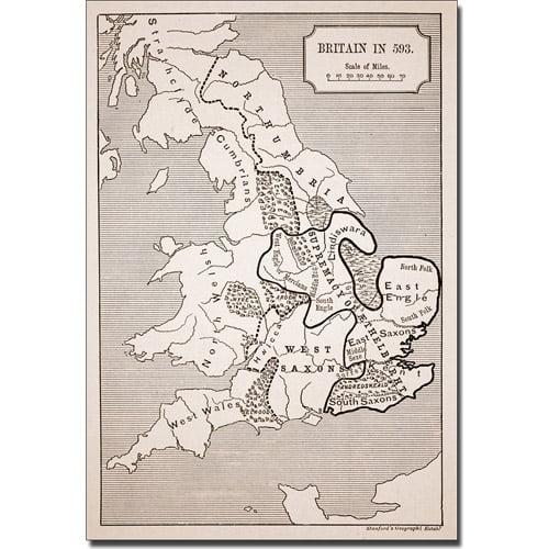 Trademark Art 'Map of Britain in 593' Canvas Art