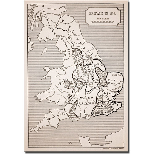Trademark Art 'Map of Britain in 593' Canvas Art
