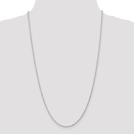 10K White Gold 1.7mm Machine Made Diamond Cut Rope Chain - image 4 of 5