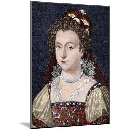 Elizabeth of York (1466-1503)  Engraving  Colored  Wood Mounted Print Wall  Art By Tarker