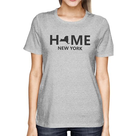 home ny state grey women's t-shirt us new york hometown cotton (Best Campgrounds In New York State)