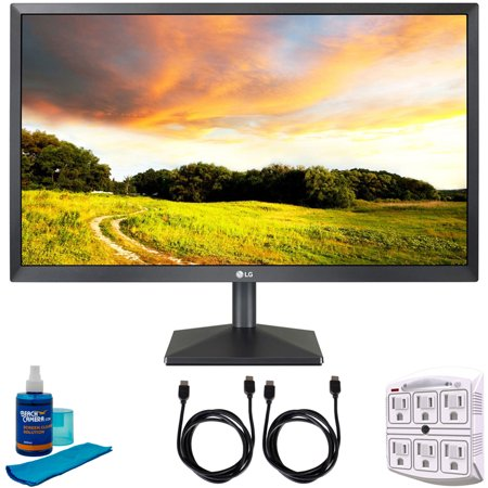 """LG (22MK400H-B) 22"""" Class Full HD TN Monitor with AMD FreeSync 21.5"""" Diagonal (22MK400H-B) with 2x 6ft HDMI Cable, Universal Screen Cleaner for LED TVs & SurgePro 6 NT 750 Joule 6-Outlet Surge Adapter"""