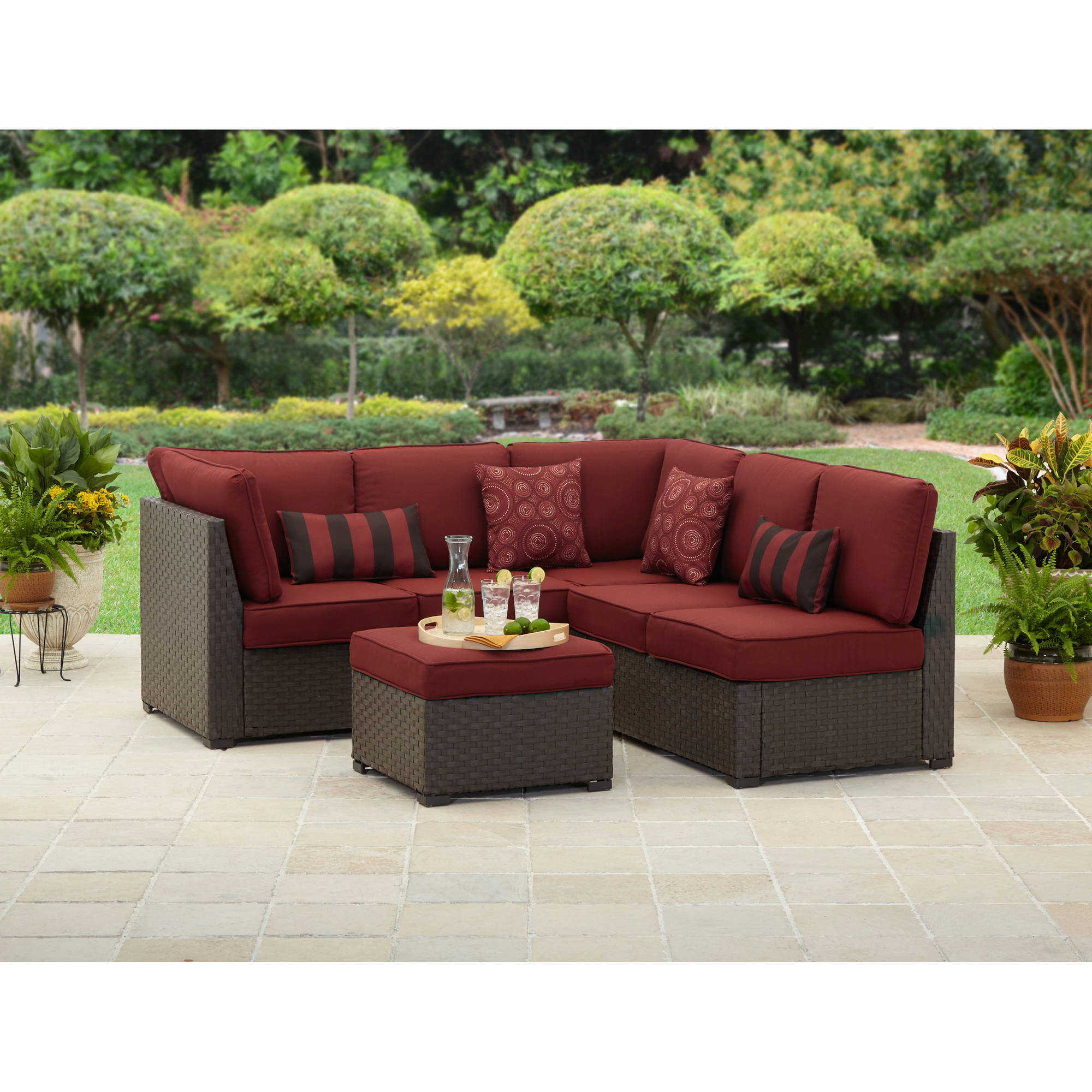 better homes and gardens rush valley 3 piece outdoor sectional sofa set seats 5 walmartcom - Garden Furniture 3 Piece