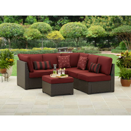 Fine Better Homes Gardens Rush Valley 3 Piece Outdoor Sectional With Red Cushions Squirreltailoven Fun Painted Chair Ideas Images Squirreltailovenorg