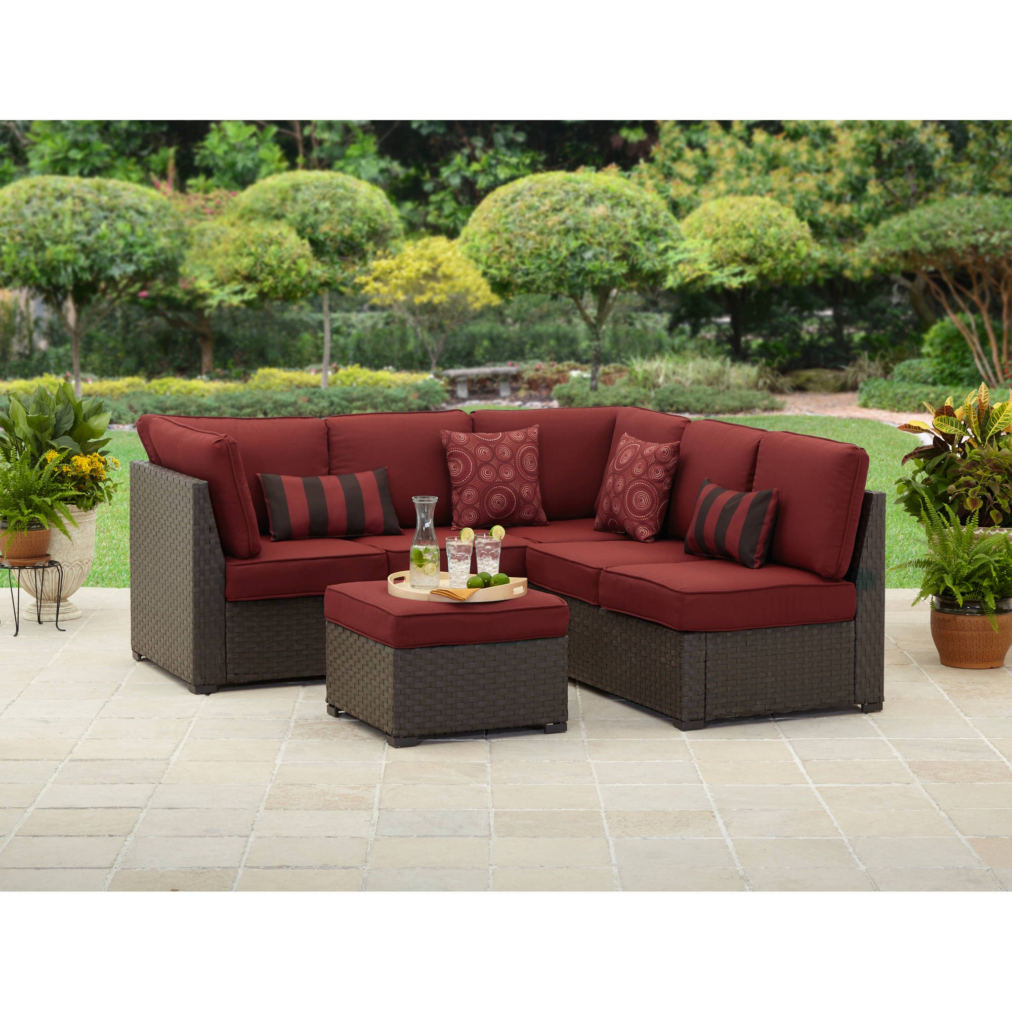better homes and gardens rush valley 3piece outdoor sectional sofa set seats 5 - Outdoor Sectionals