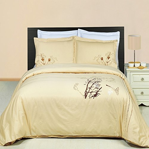 Katella Duvet Cover Set with Pillow Shams â Embroidery Pattern, 100% Combed Cotton â Durable Comforter Cover - 3 Piece, Full Queen