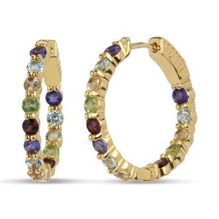 18k Gold Over Sterling Silver Multi Gemstones Endless Hoop Earrings