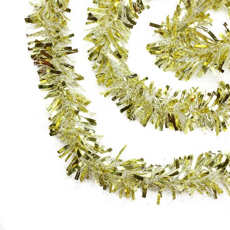 50' Gold and White Wide Cut Christmas Tinsel Garland - Unlit - Gold Tinsel