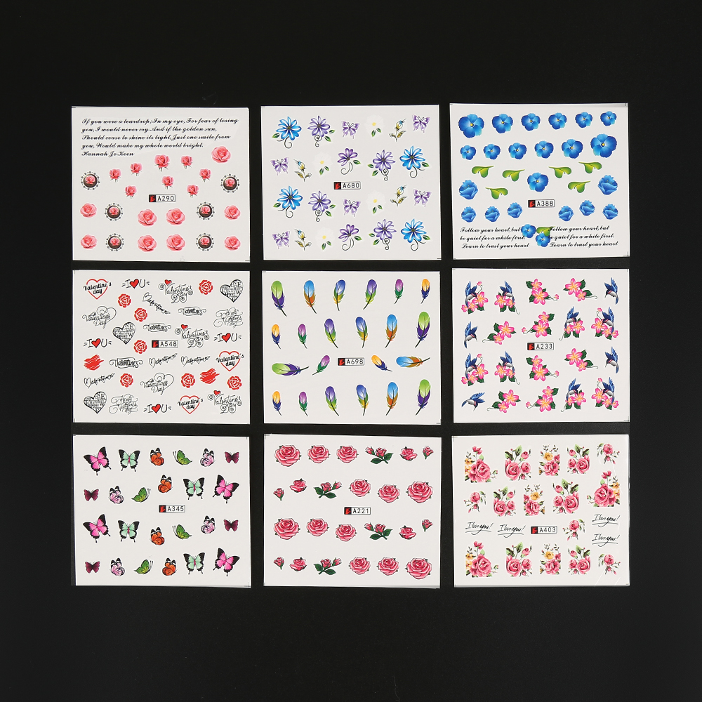 CHOIFOO Lot 50 Sheets Nail Art Flower Wrap Water Transfer Slide Flower Decals Stickers MZ