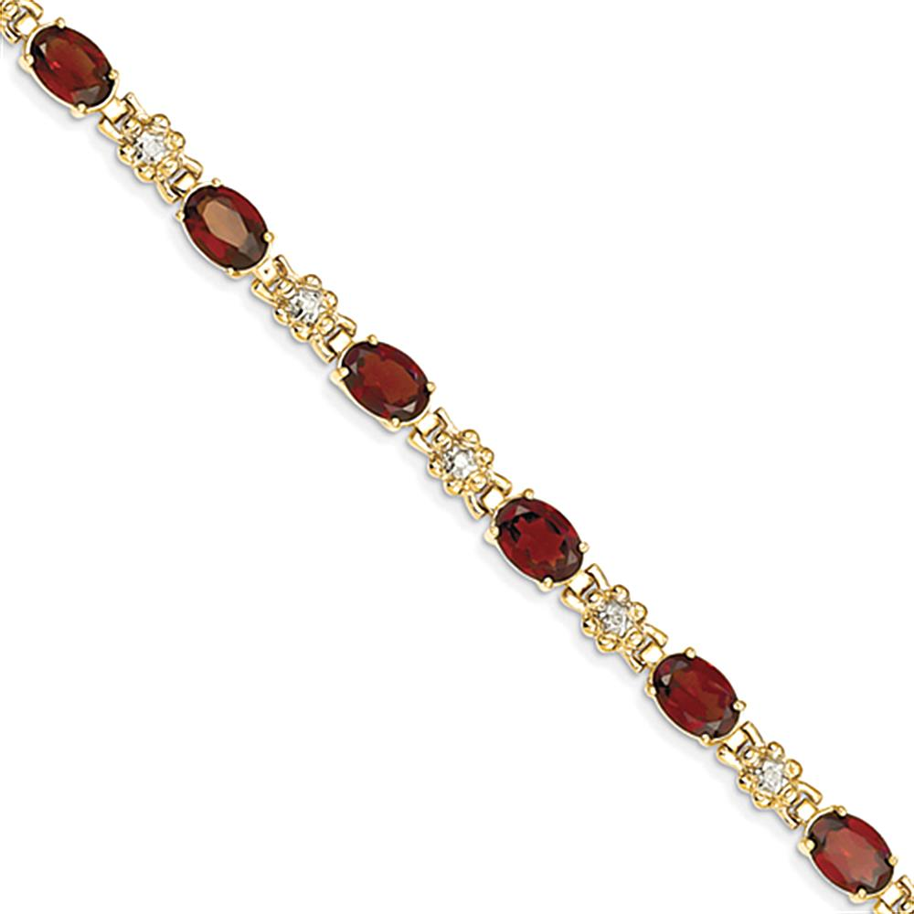 14k Garnet & Diamond Bracelet by