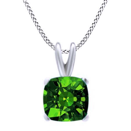 Emerald Cut Cubic Zirconia Necklace (Cushion Cut Simulated Green Emerald CZ Pendant Necklace in 14k Gold Over Sterling Silver(5)