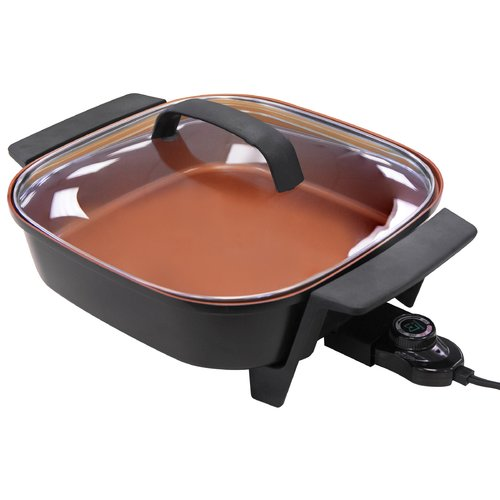 "NuWave 31820 12"" Electric Skillet 5 qt Nonstick with Tempered Glass Lid"