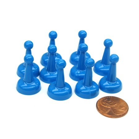 Koplow Games Set of 10 Standard Pawns 25mm Peg Pieces for Board Game Play - Blue
