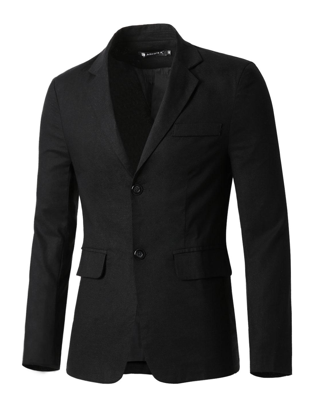 Unique Bargains Men's Padded Shoulders Notched Lapel Two-Button Long Sleeves Blazer