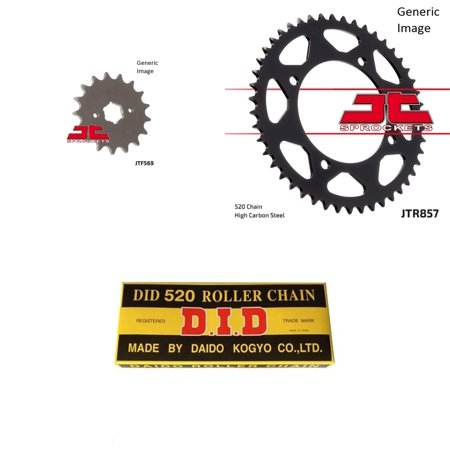 DID Standard 520 Chain Natural, JT Front & Rear Sprocket Kit for Street YAMAHA XV250C V-Star 250 2008-2016