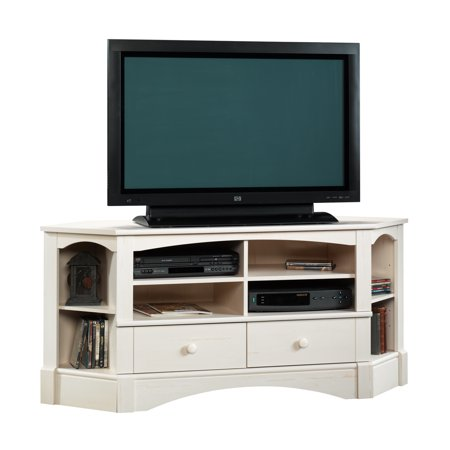 "Sauder Harbor View Corner Entertainment Credenza for TVs up to 60"", Antiqued White"