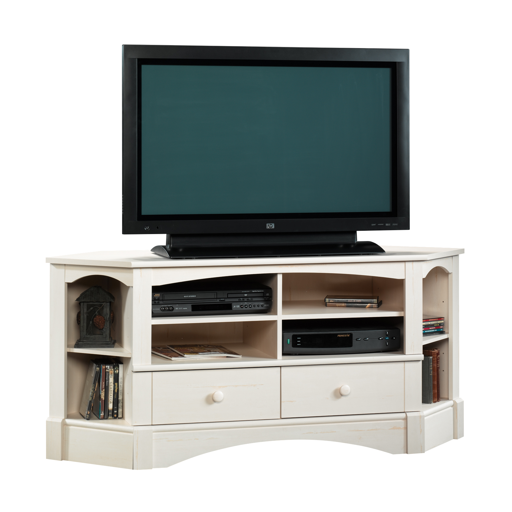 "Sauder Harbor View Corner Entertainment Credenza for TVs up to 60"", Antiqued White Finish"