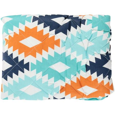 Bacati Liam Aztec Kilim Aqua Orange Navy Quilted Changing Pad Cover