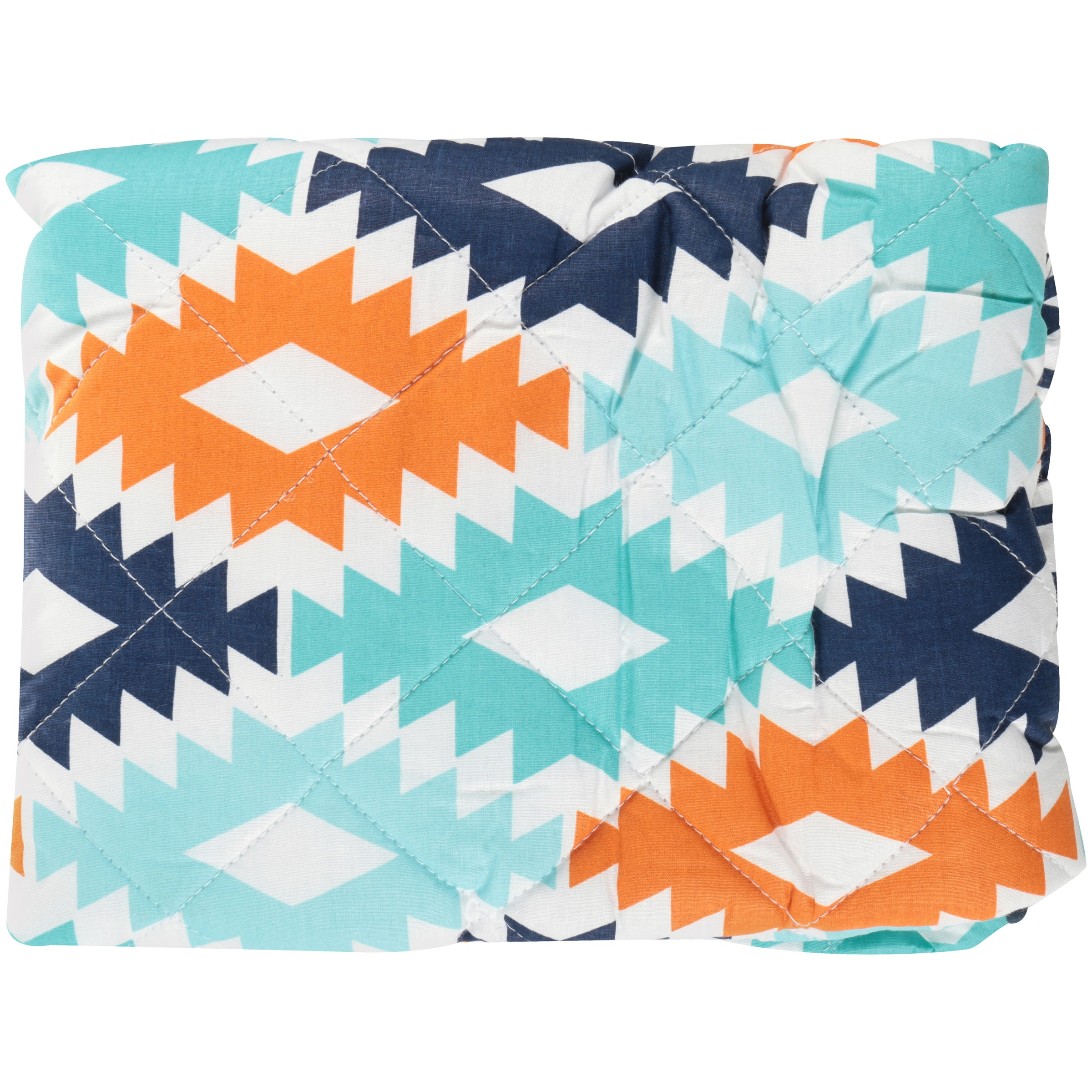 Bacati Liam Aztec Kilim Aqua Orange Navy Quilted Changing Pad Cover