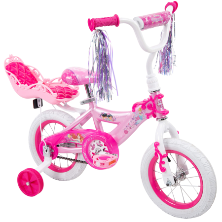 "Disney Princess 12"" Girls' EZ Build Bike with Doll Carrier, by Huffy"