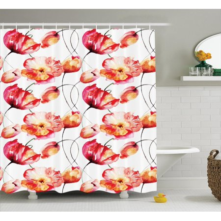 Watercolor Flower Decor Shower Curtain Set, Shaded Large Poppy And ...