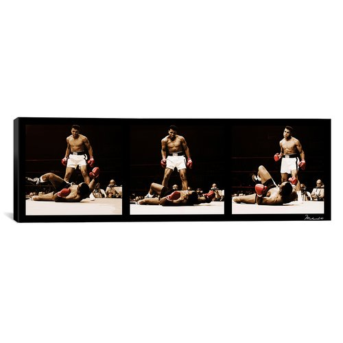 iCanvas Muhammad Ali Vs. Sonny Liston 1965 Framed Photographic Print on Canvas