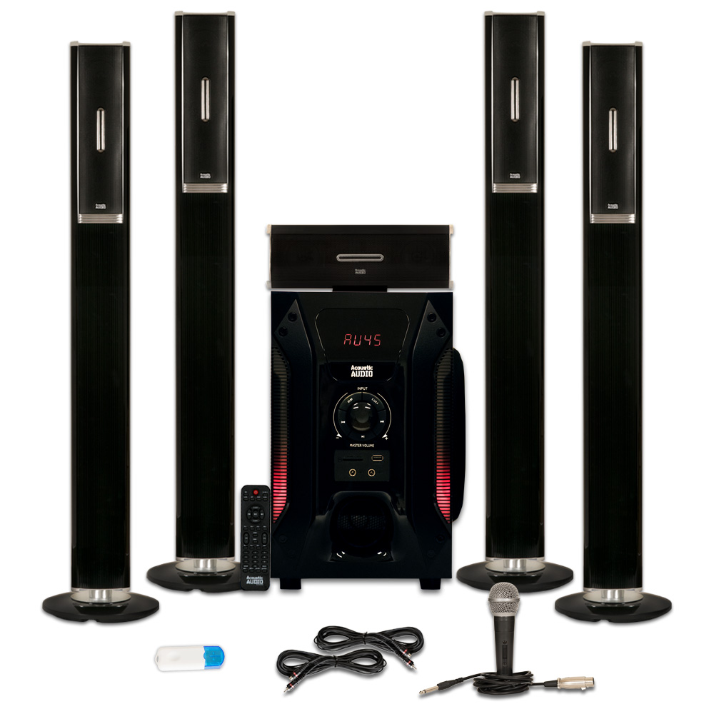 Acoustic Audio AAT1002 Tower 5.1 Speaker System with USB Bluetooth Mic and 2 Extension Cables
