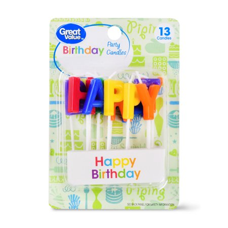 Great Value Celebration Candles, Happy Birthday, 13 Count - Happy Birthdag