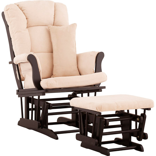 Storkcraft - Custom Tuscany Glider & Ottoman with Bonus Lower Lumbar Pillow - Black Finish, Choose Your Color