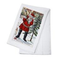 Christmas Greeting - Santa Cutting Down Christmas Tree (100% Cotton Kitchen Towel)