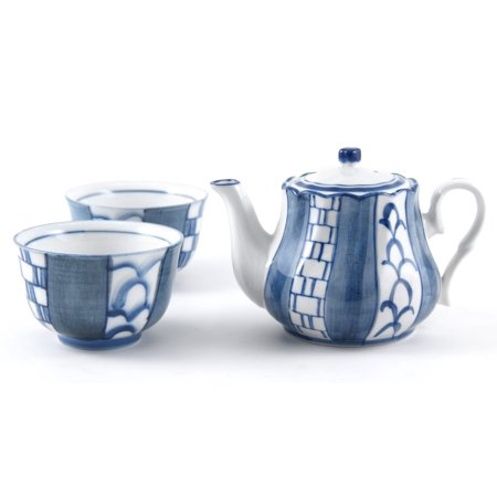Asian Blue Basket Weave Teapot Set with Cups, 3 Piece